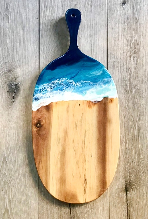 Cheese lover  Kitchenware  Dining Decor Serveboard  DiningTable decor Long Cheese board  HomeDecor Resinart Gift ideas OCEAN WAVES