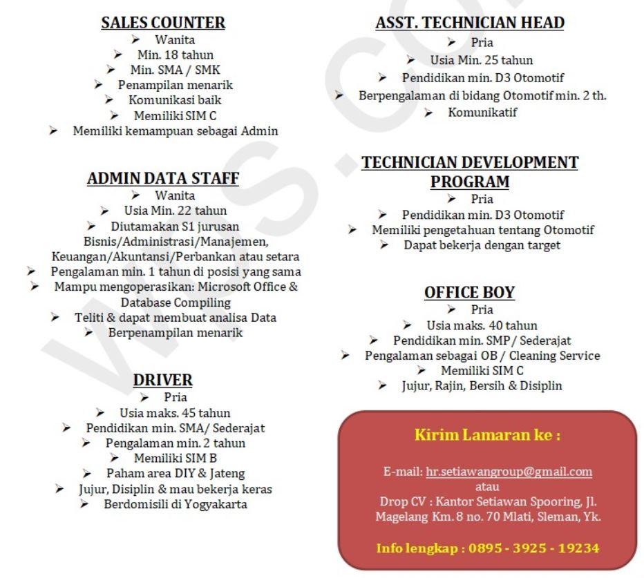 Lowongan Kerja Staf Teknisi Sopir Dan Office Boy Di Setiawan Spooring