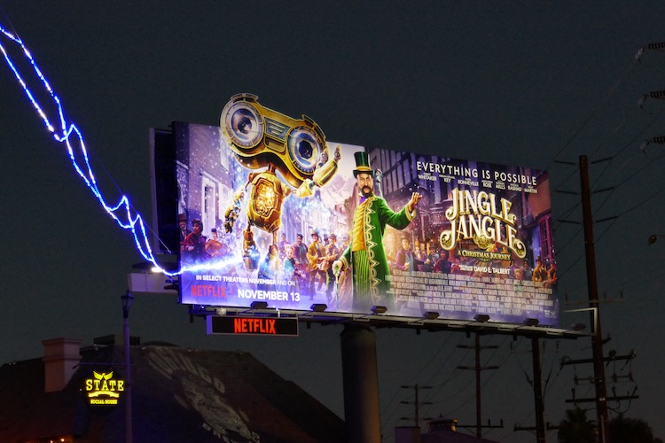 Jingle Jangle film billboard nighttime
