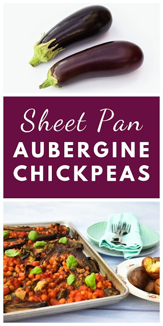 Sheet Pan Aubergine (Eggplant) & Chickpea Bake. An easy aubergine, chickpea and spinach bake make in a sheet pan for a simple family dinner. Suitable for vegetarian, vegan and dairy-free diets. #sheetpan #sheetpandinner #vegansheetpan #vegetariansheetpan #dairyfreesheetpan #onepotdinner #onepandinner #aubergine #eggplant #shallots #spinach #chickpeas