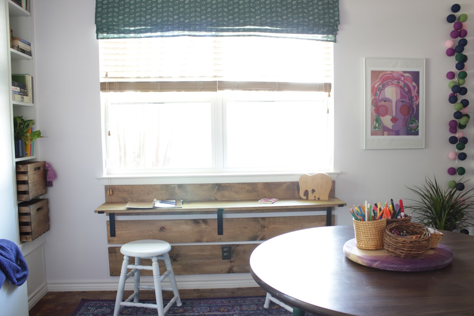 DIY shelf bracket kid's desk with Crates and Pallet