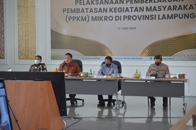 Kapolda Lampung dan Unsur Tiga Pilar Rakor Evaluasi Penanganan dan Pengendalian Covid-19 Berbasis Mikro