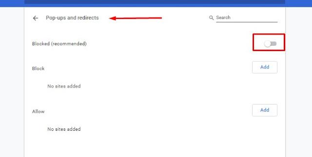 Blokir Pop-ups and Redirect di Google Chrome