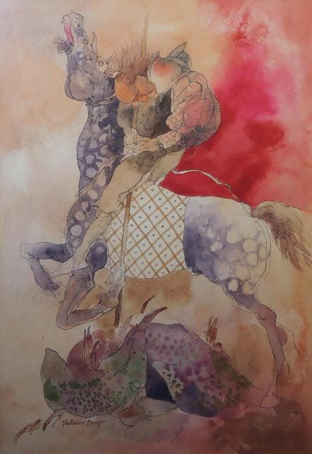 Natalio Bayo acuarela San Jorge y el dragón