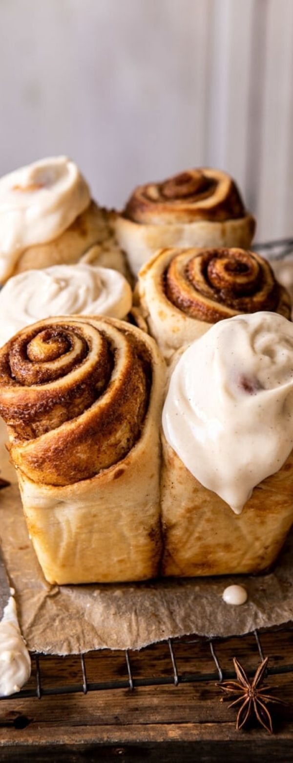 Overnight Cinnamon Roll Bread with Chai Frosting