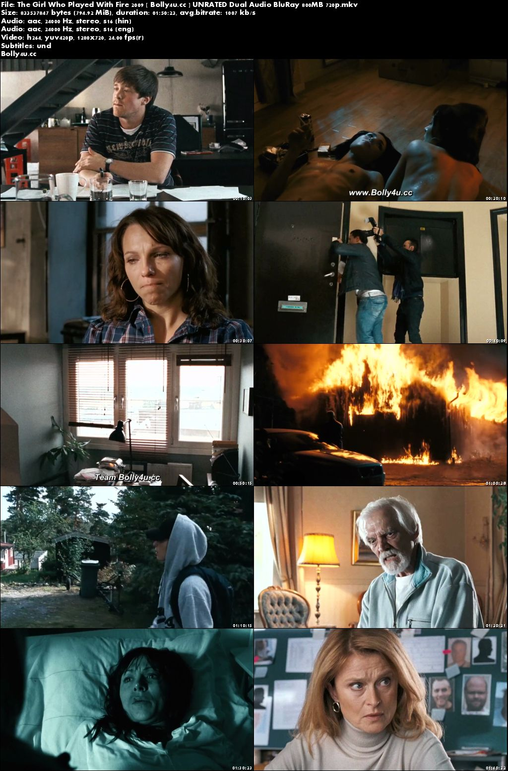 The Girl Who Played With Fire 2009 UNRATED BluRay 800MB Hindi Dual Audio 720p Download
