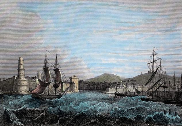 Amanda Girault, peintre - Entrée du port de Marseille vers 1840.