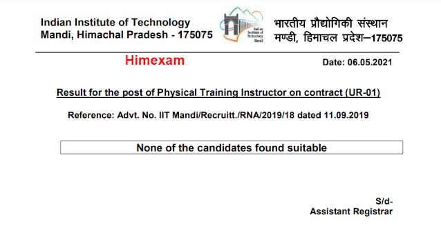 Result for the post of Physical Training Instructor on contract (UR-01)-IIT Mandi