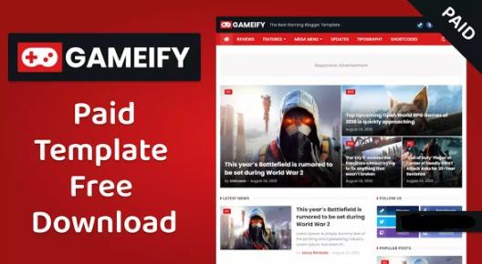 Gameify - تحميل مجاني لقالب مدونة الألعاب المدفوعة المدفوعة