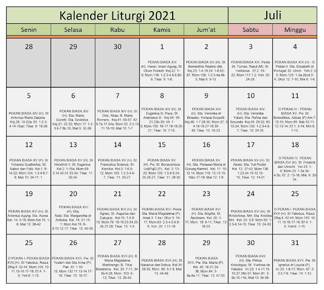 Download Kalender Liturgi Juli 2021 Tahun B/1 PDF Excel dan JPEG