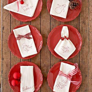 servilletas navideñas bordadas