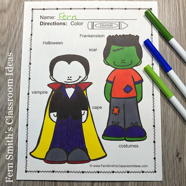 Click Here to Download These Halloween Coloring Pages with Differentiated Seasonal Vocabulary For Your Children Today!
