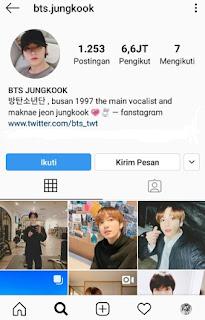Nama Akun Instagram Asli Jungkook BTS