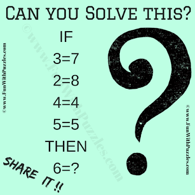 IF 3=7, 2=8, 4=4, 5=5 Then 6=?