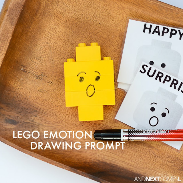 LEGO emotion drawing prompt - a fun way for kids to explore emotions using LEGO from And Next Comes L