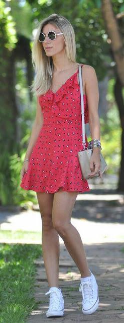 Mini red printed summer fashion