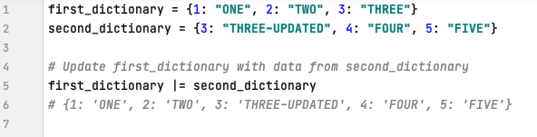 Update data in a dictionary in Python