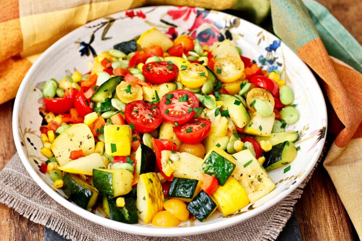 Zucchini and Summer squash succotash.