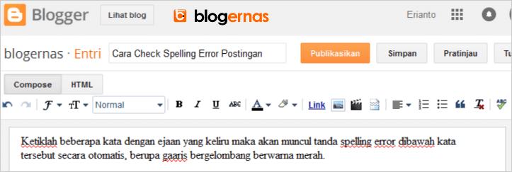 Cara Check Spelling Error Postingan pada Blogger