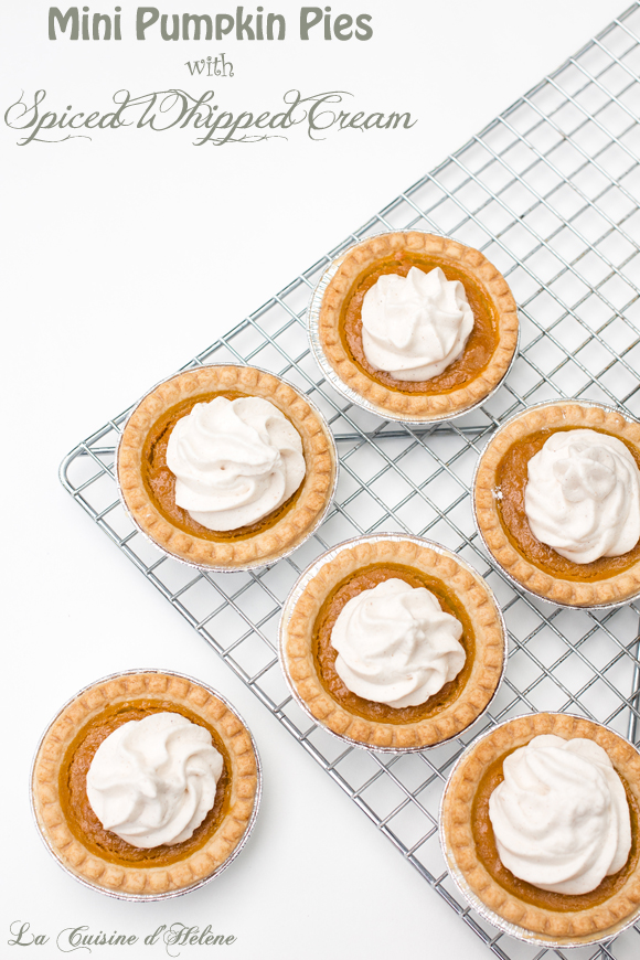 pumpkin pies with whipped cream