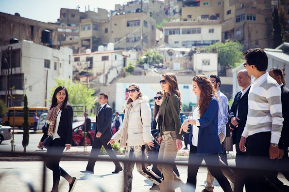 Queen Rania of Jordan visited the Amman Design Week venue in downtown Amman
