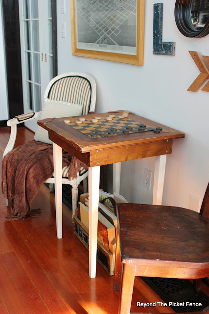 checkers, table, antiques, game table, vintage, side table, old schoolhouse, http://bec4-beyondthepicketfence.blogspot.com/2016/02/checkers-table.html