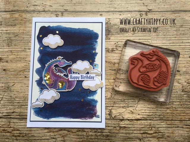 Have a go at making this beautiful dragon card. This gold dragon, surrounded in gold clouds, was made using the Magical Day stamp set from Stampin' Up!