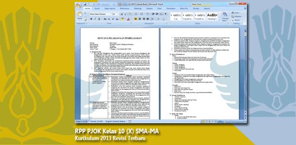 RPP PJOK Kelas 10 (X) SMA-MA Kurikulum 2013 Revisi Terbaru Tahun 2019-2020