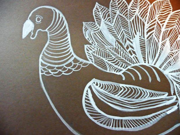 Thanksgiving Turkey Line Art