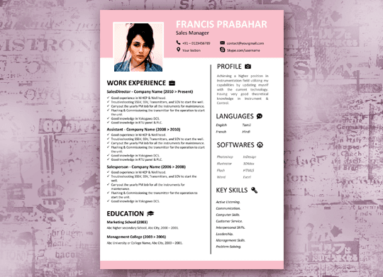 Misty Pink - Modern Resume Template