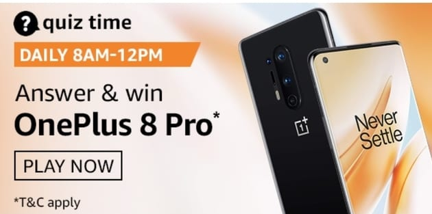 Amazon Quiz 26 August 2020 Answers Win OnePlus 8 Pro