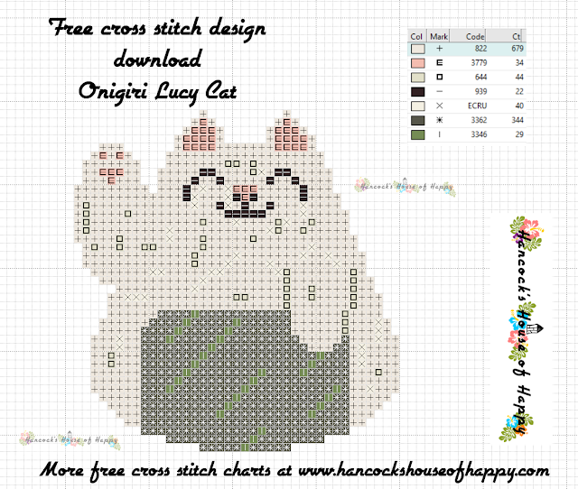 Sushi Cat Cross Stitch Design: Maneki Neko Onigiri (Lucky Cat Onigiri) Free Cross Stitch Pattern to Download