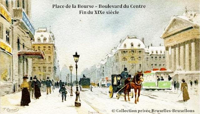 Bruxelles - Palais  et place de la Bourse - Entre 1893 et 1900 -  Au bout du boulevard du Centre (actuel boulevard Anspach) on distingue la silhouette de l'hôtel Continental sur la place de Brouckère, avant l'incendie de 1901 qui détruisit sa toiture - Bruxelles-Bruxellons