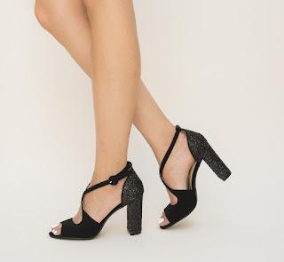 Sandale Sogosa Negre  cu toc gros cu gliter
