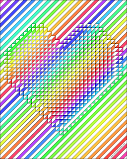 Geometric rainbow heart