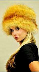 Golden fox fur hat