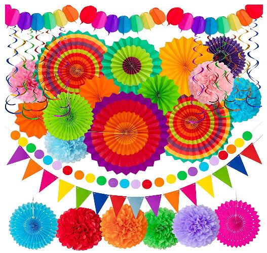 paper fan party decorations set
