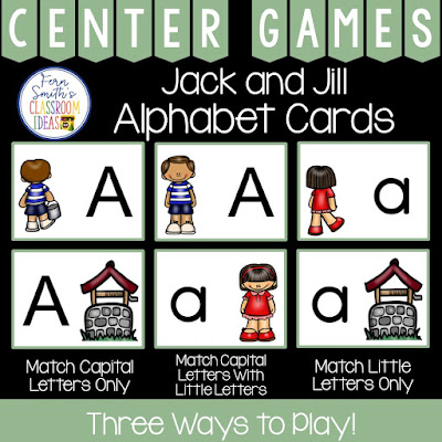 Alphabet Matching Centers With a Jack and Jill Theme - Perfect Task Cards for a variety of games, concentration, match game, go fish, gin rummy, scoot, read the room, small group, even perfect for assessments from Fern Smith's Classroom Ideas at TeacherspayTeachers.