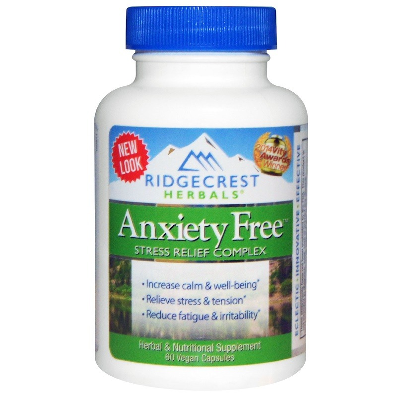 RidgeCrest Herbals, Комплекс для избавления от тревоги и стресса, 60 веганских капсул