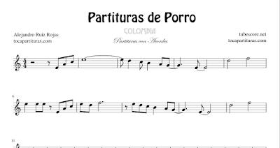 4 Partituras de Porros (3) Atlántico, Boquita Salá, Cármen de Bolívar y Diana María Partituras con Acordes