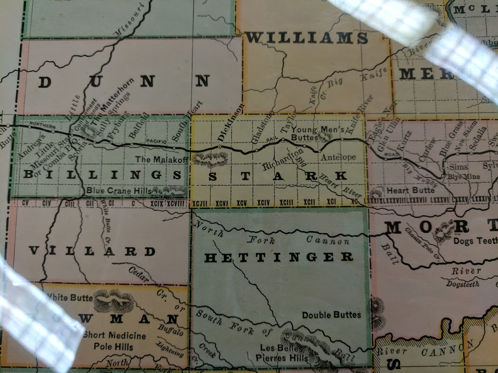 a rich resource for anyone interested in the history of this area is digital horizons life on the northern plains here i found a railroad and county map