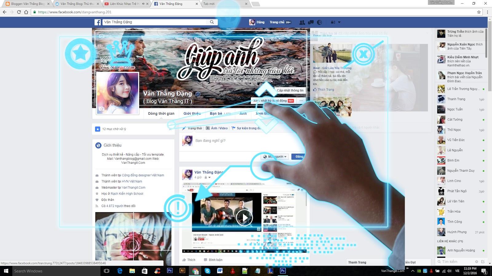 Psd ghép trang cá nhân facebook đẹp đơn giản