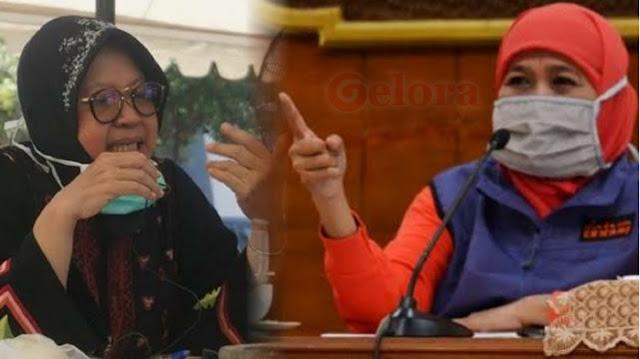 Perang Panas Khofifah Vs Risma Imbas Corona Klaster PT Sampoerna, Tuding Walikota Surabaya Lelet
