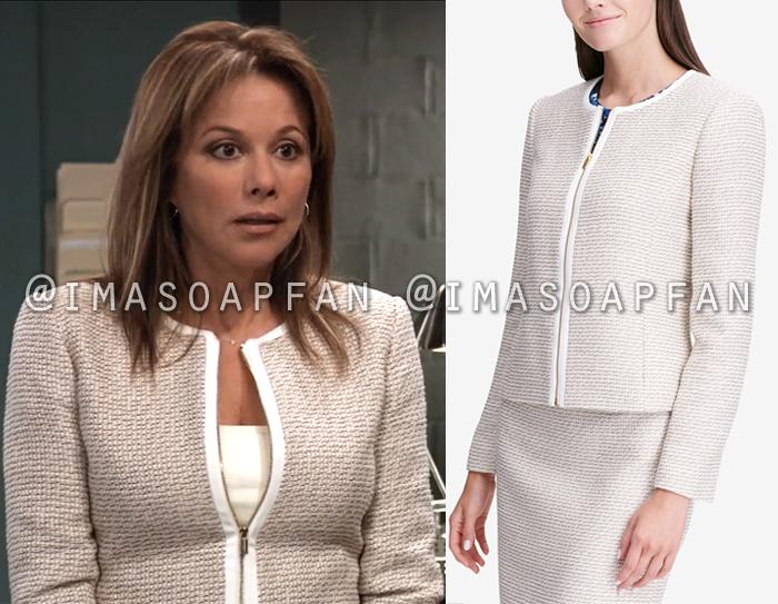 Alexis Davis, Nancy Lee Grahn, Beige Tweed Zip-front Jacket, General Hospital, GH