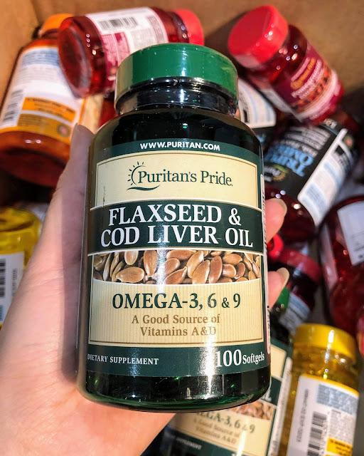 Viên uống Omega 3, 6,9 Dầu hạt lanh & dầu gan cá tuyết - Puritan's Pride Flaxseed & Cod Liver Oil 1000mg, Hàng Mỹ