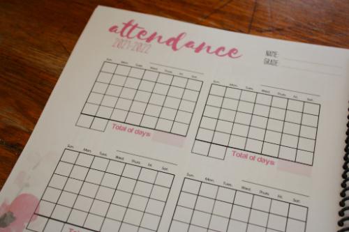 Homeschool attendance sheets