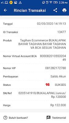 Tagihan Virtual Account BCA Sukses Dibayar