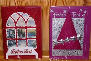 Weihnachtskarten mit Effektstiften und Dekostoff