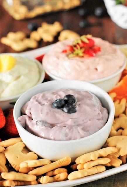 Platter of Easy 2-Ingredient Fruit Dip in 3 Flavors Image