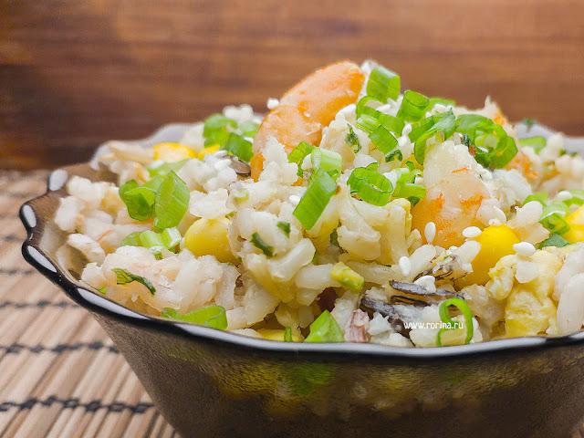 Рис с креветками на сковороде: пошаговый рецепт с фото